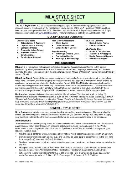 MLA Style Crib Sheet