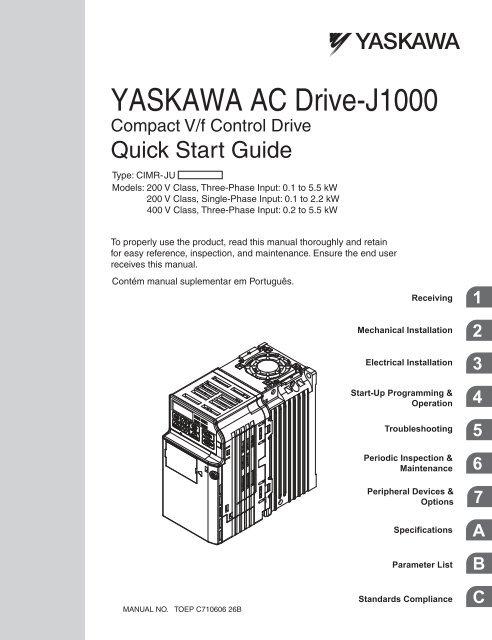 YASKAWA AC Drive-J1000 Compact V/f Control Drive Quick Start