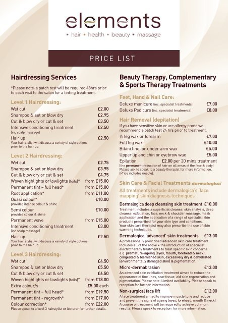 Download our salon price list - Kidderminster College
