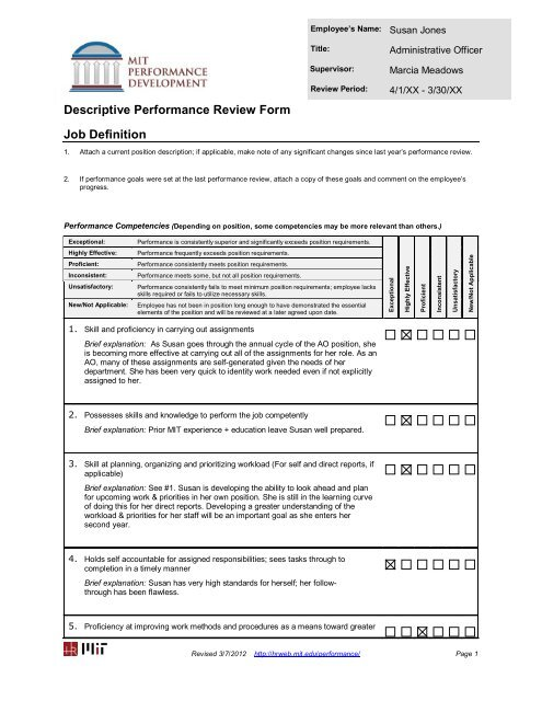 Descriptive Performance Review Form Job Definition - Human