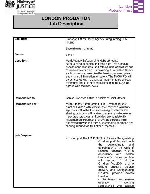 Probation Officer MASH JD Final - London Safeguarding Children