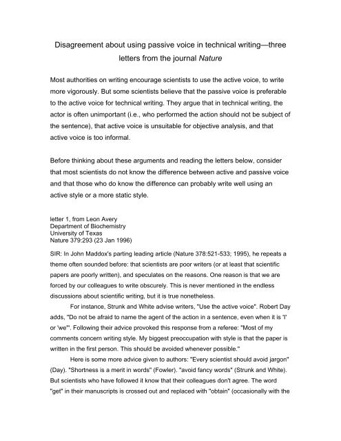 Disagreement about using passive voice in technical writing - Jaffee