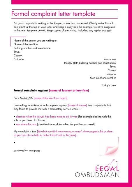 Formal complaint letter template - Legal Ombudsman