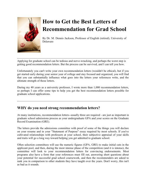 How to Get the Best Letters of Recommendation for Grad School