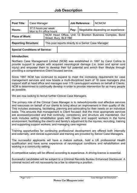 Job Description - Northern Case Management