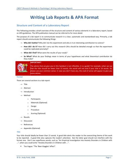 Writing Lab Reports  APA Format - University of Sussex