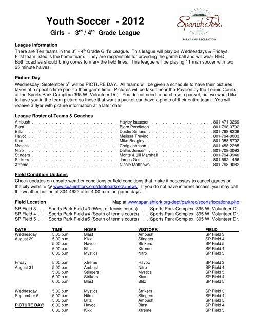 Girls - 3rd/4th Grade League Schedule - Spanish Fork