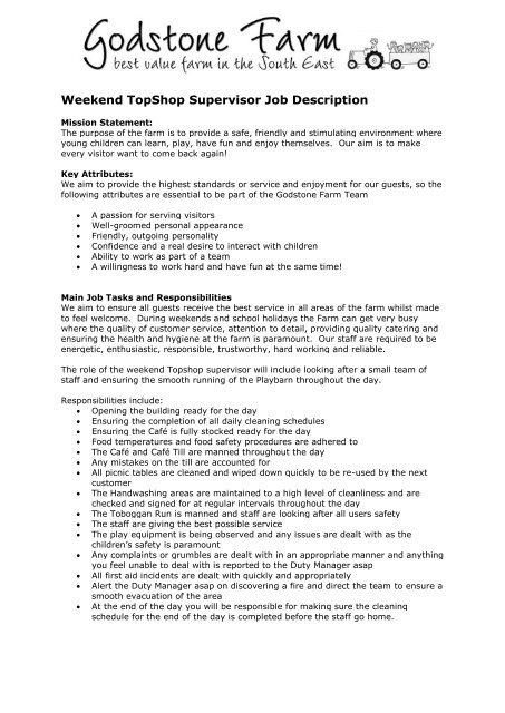 Weekend TopShop Supervisor Job Description - Godstone Farm