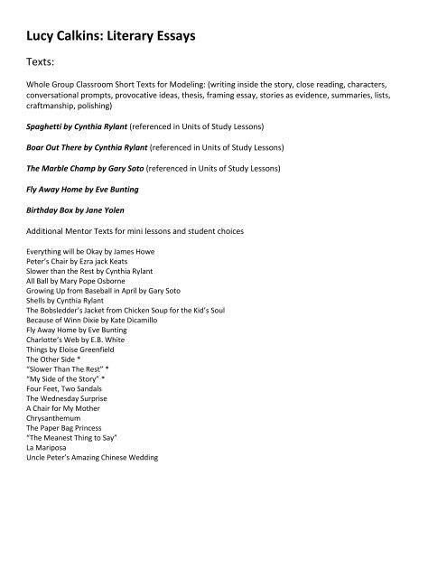 Lucy Calkins Literary Essays - angela-wisemanwiki