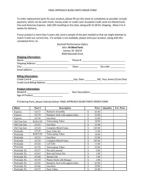 FINAL APPROACH BLIND PARTS ORDER FORM To - FA Brand