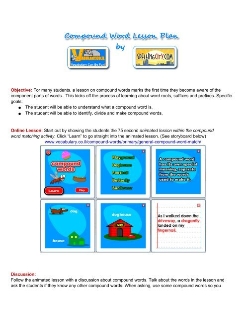 Compound Word Lesson Plan - Vocabularyil