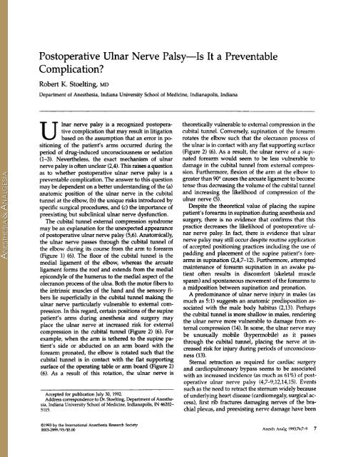 Postoperative Ulnar Nerve Palsy-Is It a Preventable - Anesthesia