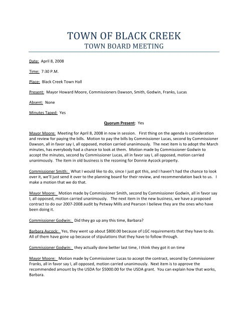 View the Meeting Minutes for Tuesday, April 8 - Town of Black Creek