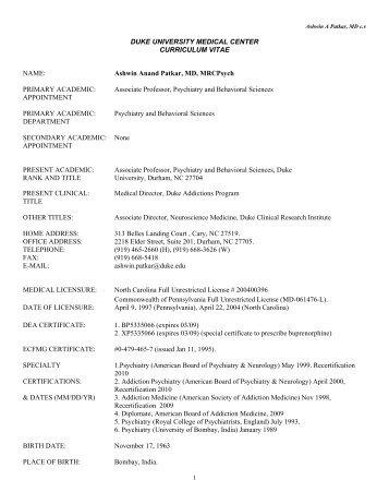 Duke Nurse Sample Resume