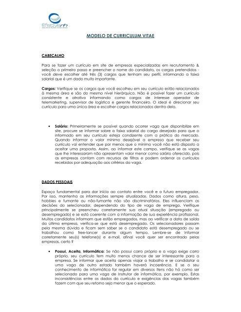 MODELO DE CURRICULUM VITAE - Efetivarh