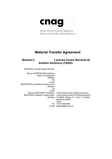 Link to the Material Transfer Agreement document (MTA) - Cnag