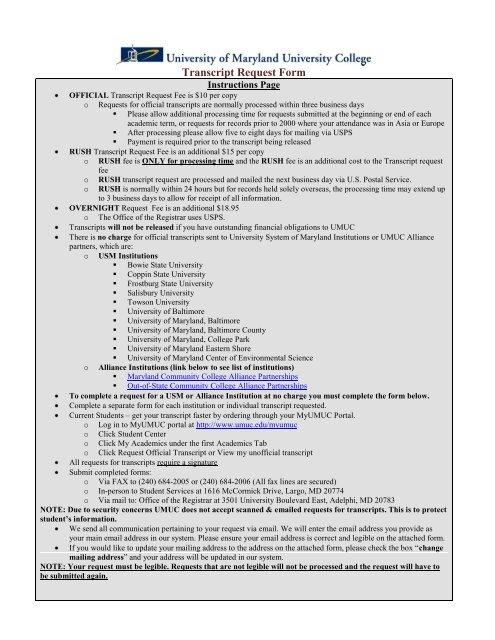 Transcript Request Form - UMUC