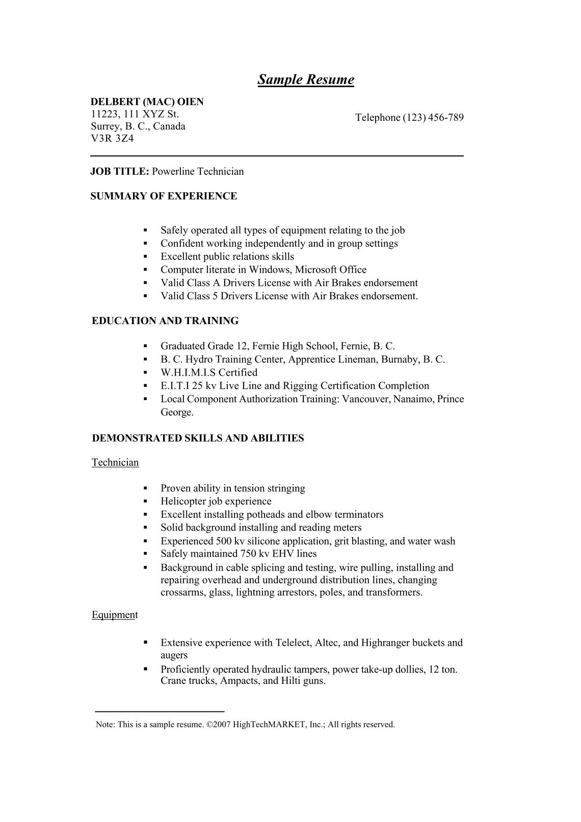 homey idea lineman resume 8 lineman resume samples tips and ...