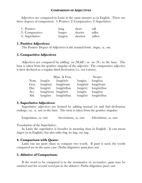 Comparison of Adjectives - The Latin Library