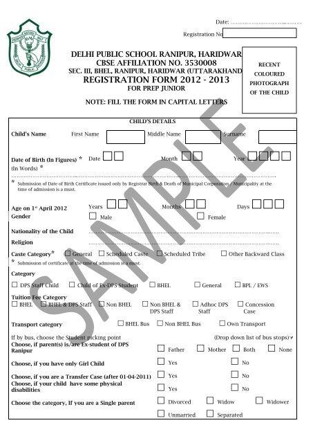 sample admission form - Delhi Public School, Haridwar