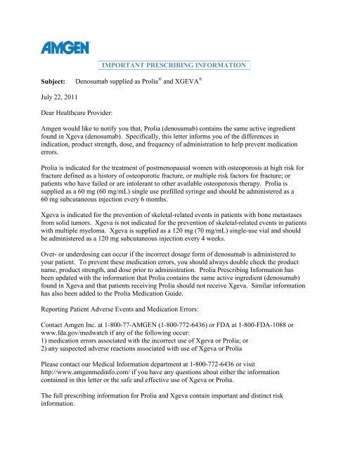 Healthcare Provider Introductory Letter Redline - Amgen