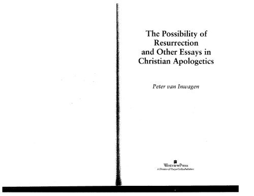 The Possibility of Resurrection and Other Essays in Christian