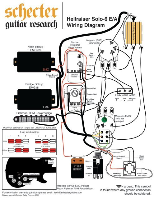HELLRAISER SOLO 6 WIRING DIAGRAM - Schecter Guitars