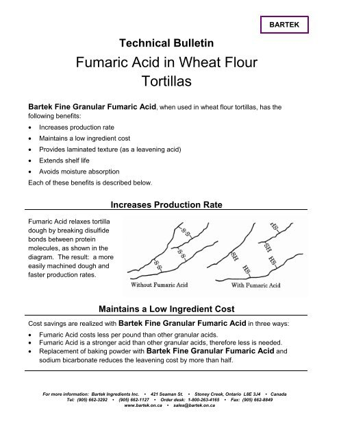 Technical Bulletin Fumaric Acid in Wheat Flour Tortillas - Bartek