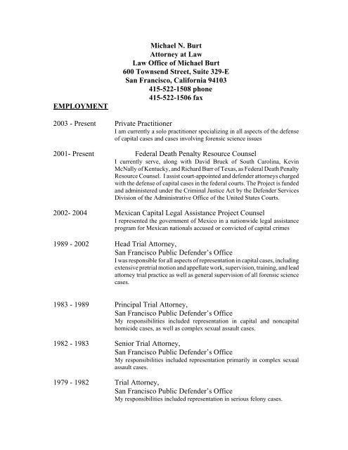 Resume Michael Burt - Attorney General