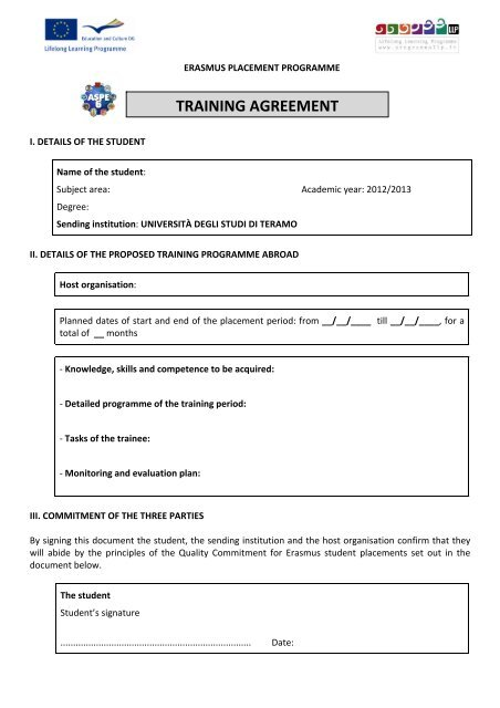 TRAINING AGREEMENT - Erasmus Placement
