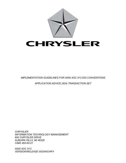 824 Application Advice - Chrysler