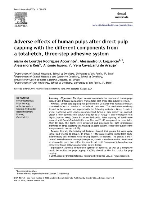 Adverse effects of human pulps after direct pulp capping with the