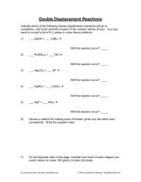worksheet. Double Displacement Reactions Worksheet