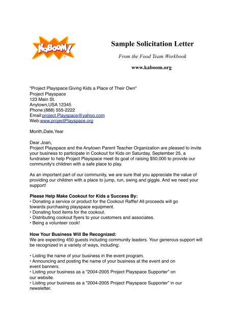 Sample Solicitation Letter Sample - KaBOOM!