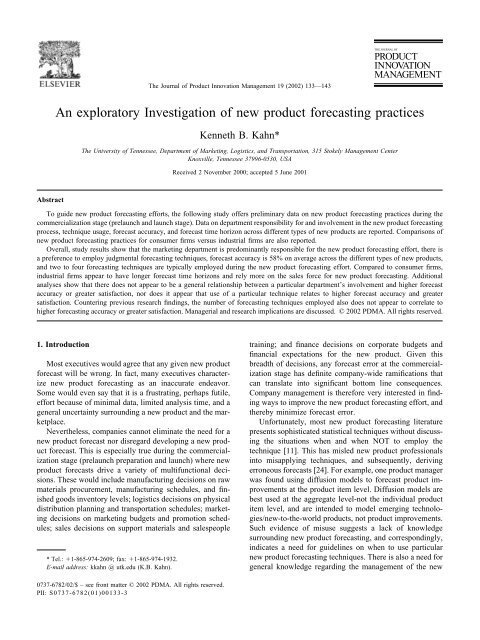 An exploratory Investigation of new product forecasting practices