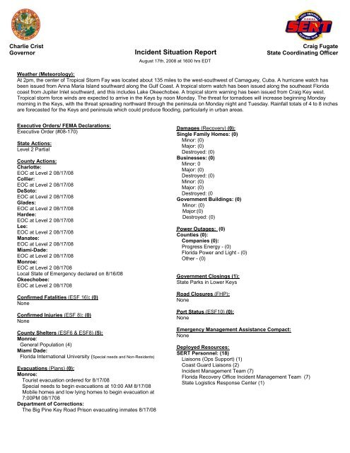 Incident Situation Report - Florida Division of Emergency Management