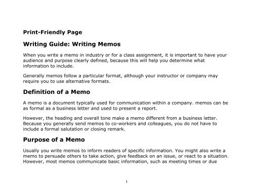 Writing Guide Writing Memos Definition of a Memo Purpose - SEAS