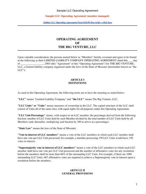 Sample LLC Operating Agreement
