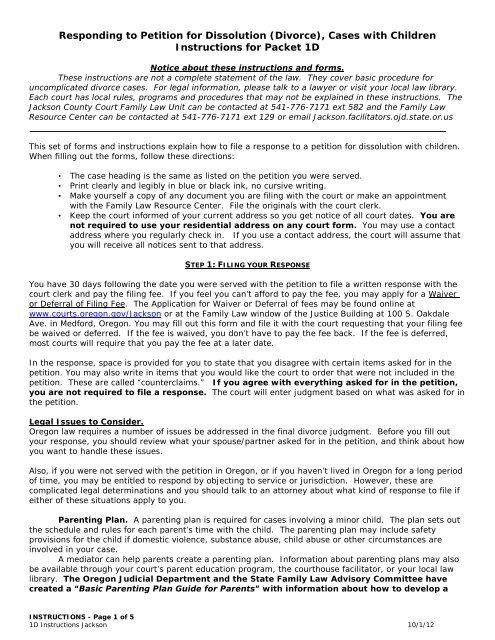 Responding to Petition for Dissolution (Divorce) - Oregon Judicial