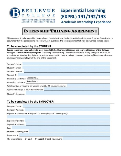 Academic Internship Program Training Agreement - Bellevue College