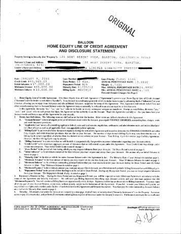 home equity credit line application disclosure - Vectra Bank