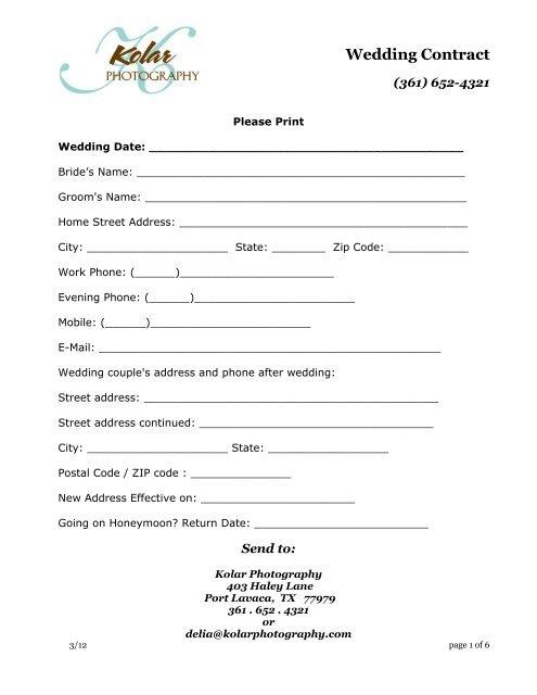 Kolar Photography Wedding Contract - PhotoBiz