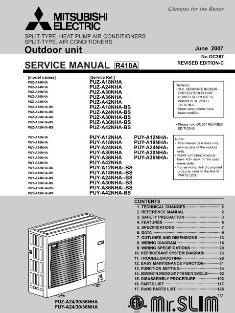 Tech PU(Y,Z) Outdoor Models Only - Mitsubishi Electric Cooling