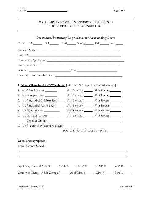 Practicum Summary Log/Semester Accounting Form