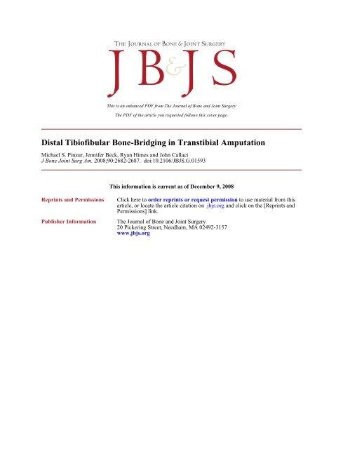 Distal Tibiofibular Bone-Bridging in Transtibial Amputation
