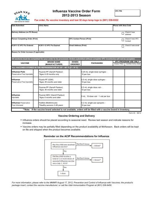 Influenza Vaccine Order Form 2012-2013 Season - Utah