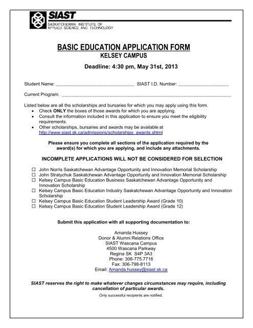 Kelsey Basic Education Student Awards Application Form