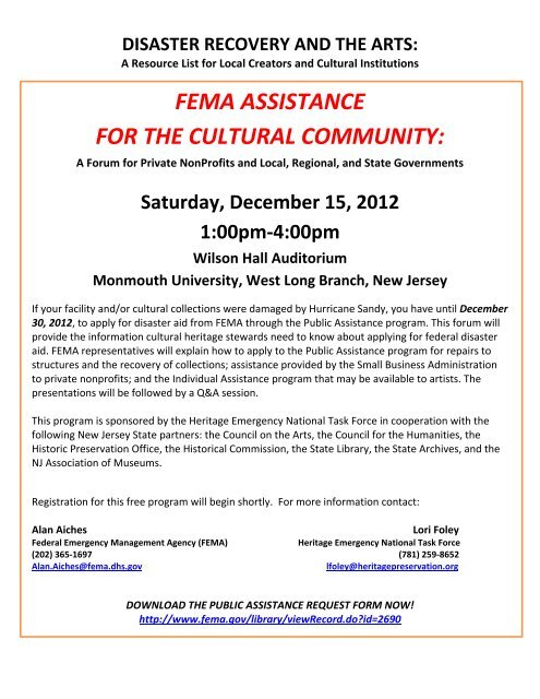 fema assistance for the cultural community - Ocean County Library