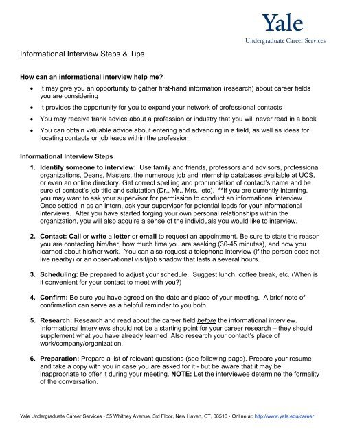 Informational Interviewing - Yale Undergraduate Career Services