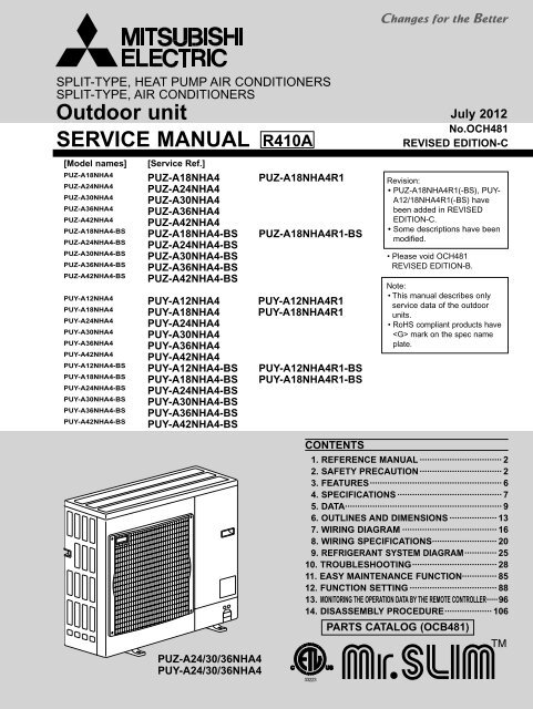 Split System Wiring Diagrams For Mitsubishi Pkaa24 Wiring
